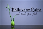 Bathroom Rules wash - brush - floss - flush. Vinyl Wall Art Decal Sticker