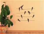 Birds sitting on phone line. Vinyl Wall Art Decal Sticker