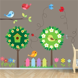 Birds and Trees Vinyl Wall Art Decal Peel and Stick Sticker