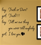 Boy Girl Truth or Dare Vinyl Wall Art Decal Sticker