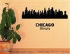 Chicago Illinois City Skyline Vinyl Wall Art Decal Sticker