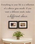 Everything in your life is a reflection of a choice you made. If you want a different result, make a different choice.  Vinyl Wall Art Decal Sticker