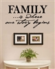 FAMILY...is where our story begins Vinyl Wall Art Decal Sticker