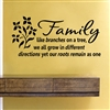 Family like branches on a tree, we all grow in different directions yet our roots remain as one Vinyl Wall Art Decal Sticker