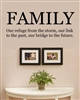 Family Our refuge from the storm, our link to the past, our bridge to the future. Vinyl Wall Art Decal Sticker