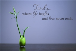 Family where life begins and love never ends. Vinyl Wall Art Decal Sticker