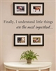 Finally, I understand Little things are the most important... Vinyl Wall Art Decal Sticker