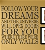 Follow your dreams and the universe will open doors for you where there were only walls Vinyl Wall Art Decal Sticker