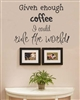 Given enough coffee I could rule the world! Vinyl Wall Art Decal Sticker