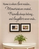 Home is where love resides... Memories are created... Friends always belong... and laughter never ends... Vinyl Wall Art Decal Sticker