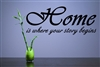 Home is where your story begins Vinyl Wall Art Decal Sticker