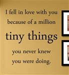 I fell in love with you because of a million tiny things you never knew you were doing. Vinyl Wall Art Decal Sticker