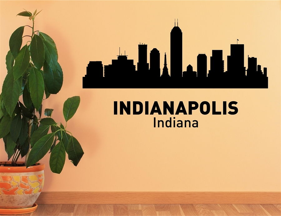 Indianapolis Indiana City Skyline Vinyl Wall Art Decal Sticker