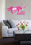 Love Music with Hearts and Notes Vinyl Wall Art Decal Sticker
