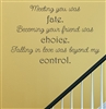 Meeting you was fate. Becoming your friend was choice. Falling in love was beyond my control. Vinyl Wall Art Decal Sticker