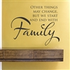 Other Things May change but we start end with Family Vinyl Wall Art Decal Sticker