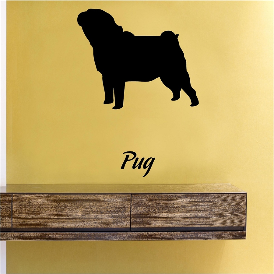 879dabe6a09 Pug Silhouette Vinyl Wall Art Decal Sticker