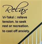 Relax Definition Vinyl Wall Art Decal Sticker