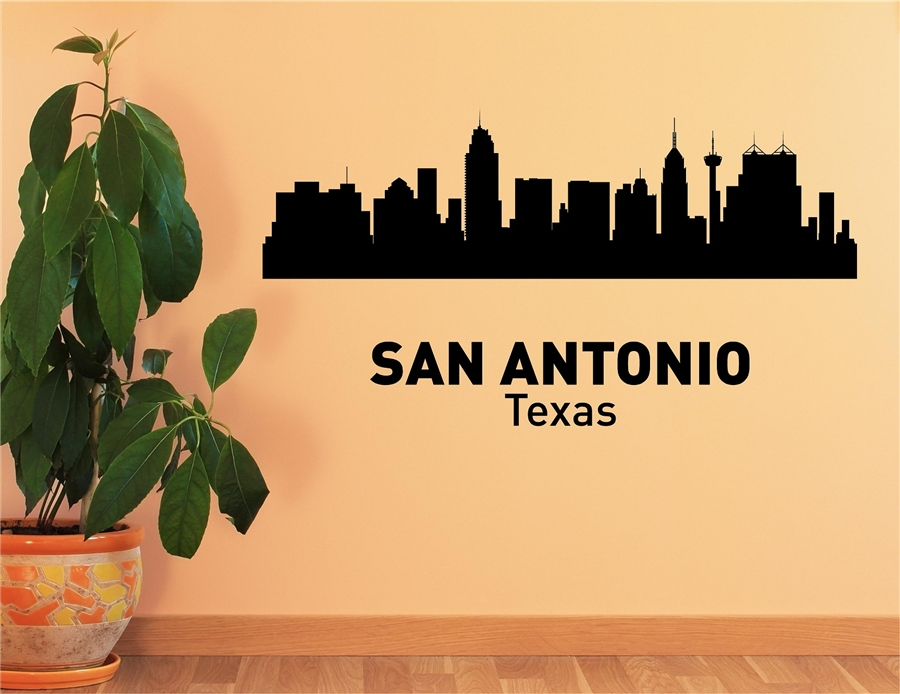 San Antonio Texas City Skyline Vinyl Wall Art Decal Sticker