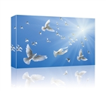 White doves in blue sky GALLERY WRAPPED CANVAS