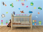 SA239924 Animals and Butterflies Vinyl Wall Art Decal Peel and Stick Sticker