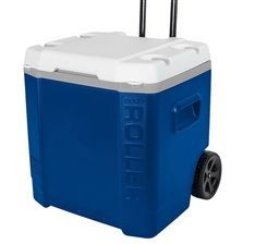 Blue Igloo Cooler 60 Quart Large Capacity Roller Rolling Ice Chest