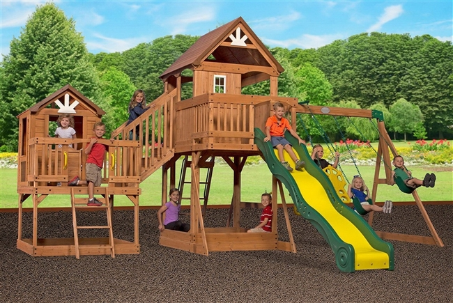 Backyard Discovery Malibu Cedar Swing Set Two Clubhouse