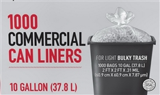 Trash Bags Commercial 7 - 10 Gallon Can Liners for Light Bulky Trash Box of 1000