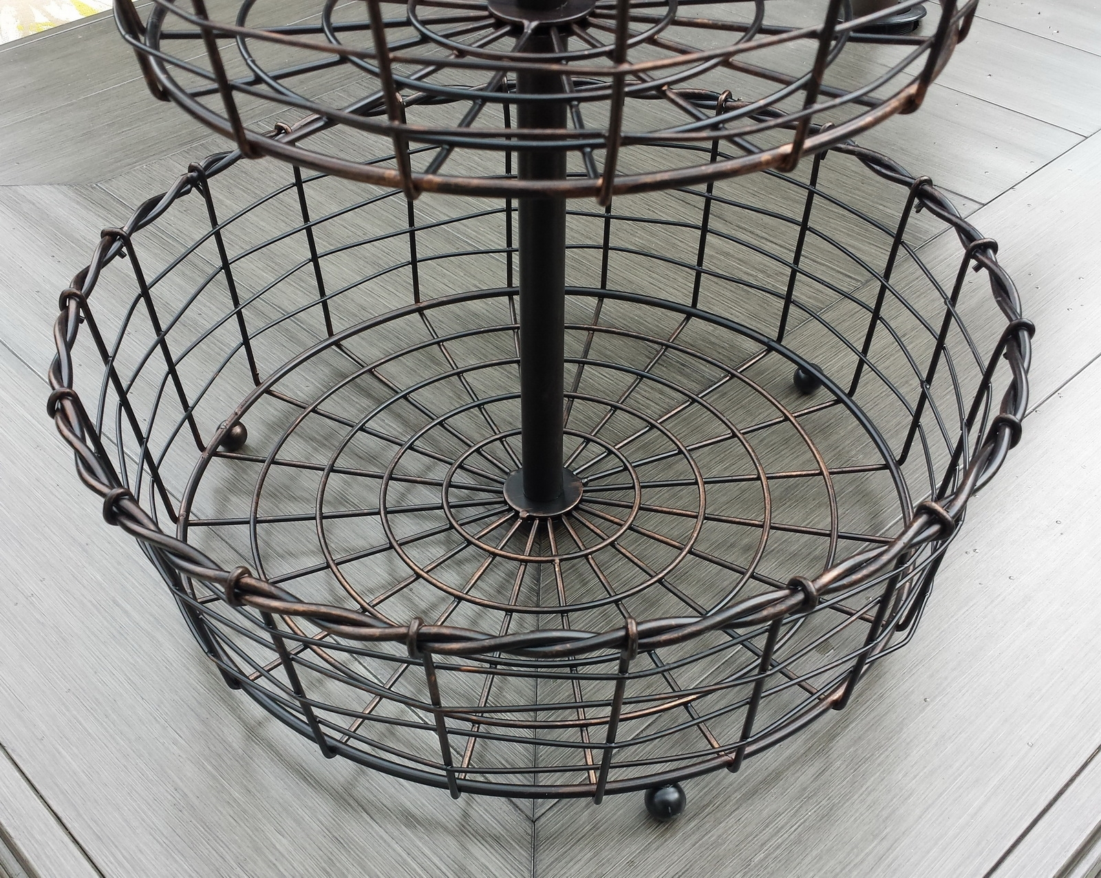 2 Tier Wrought Iron Fruit Basket Display Stand