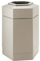 30 Gallon Beige Outdoor Trash Can Garbage Bin