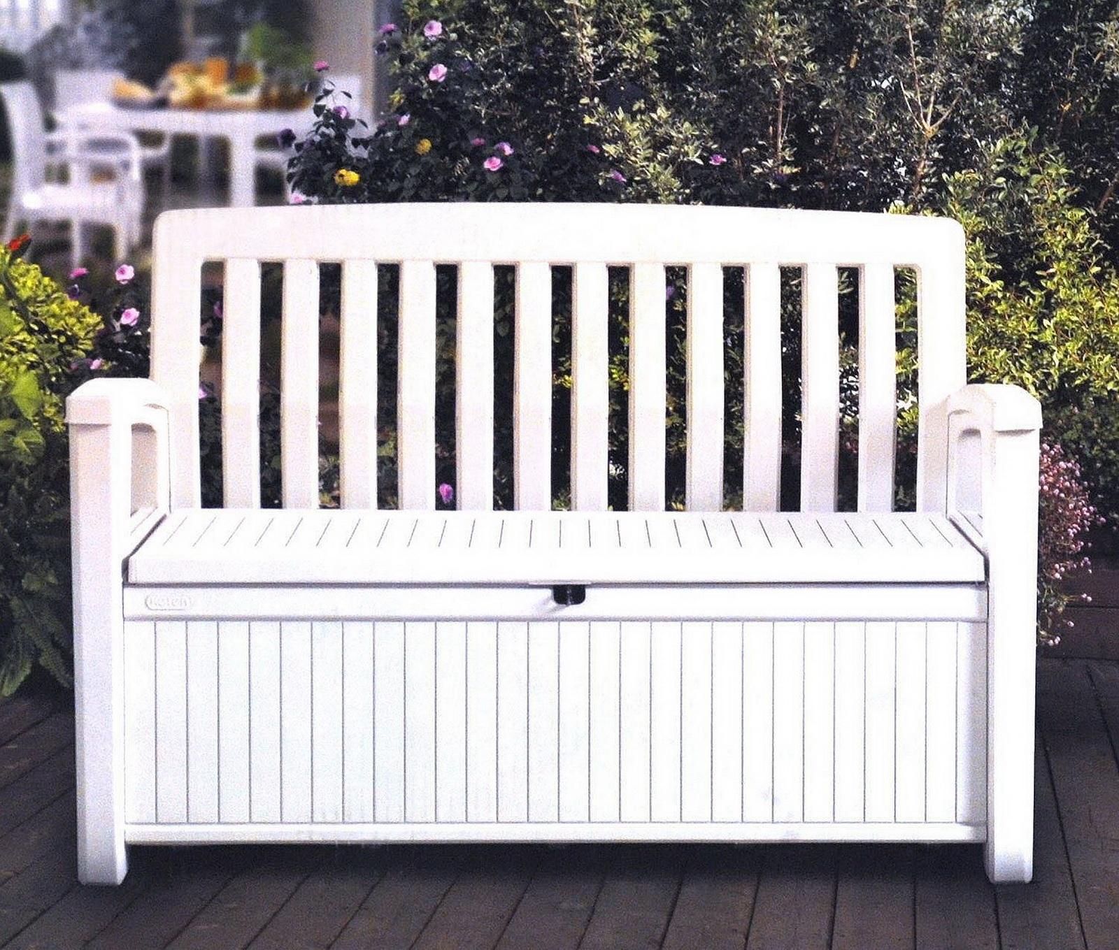 Patio Furniture Storage Bench.Outdoor Storage Bench Deck Box 60 Gallon White Or Brown