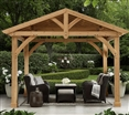 Huge Outdoor Gazebo Pavilion Shelter Cedar Wood with Metal Roof