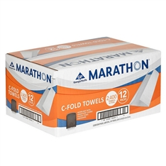 Marathon C-Fold Paper Towels, White, 200 Towels Per Pack, 12 Packs Per Case