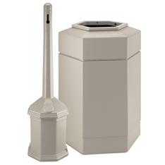 Site Saver Cigarette and Trash Can Combo, Beige 30 Gallon