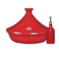 Emile Henry 3.7-quart Burgundy Tagine with 15oz. Oil Cruet