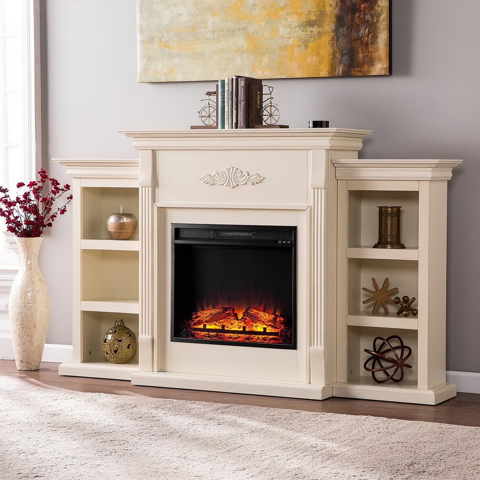 Electric Fireplace Fire Place Mantle Heater Logs With Remote