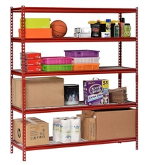 "Muscle Rack 5-Shelf Steel Shelving Unit, 60"" Width x 72"" Height x 24"" Length Red"