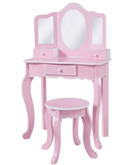 Girls Pink Makeup Mirror Vanity Table