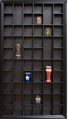 Decorative 52 Shot Glass Display Case Shadow Box Hinged Door