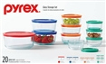 Pyrex 20 Piece Glass Cookware Storage Set with Easy Grab Handles & Lids