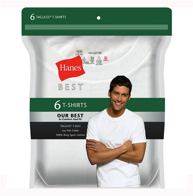 Hanes White Cotton T-Shirt 6 Pack