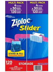 Ziploc Storage Slider Gallon Bags 120 ct
