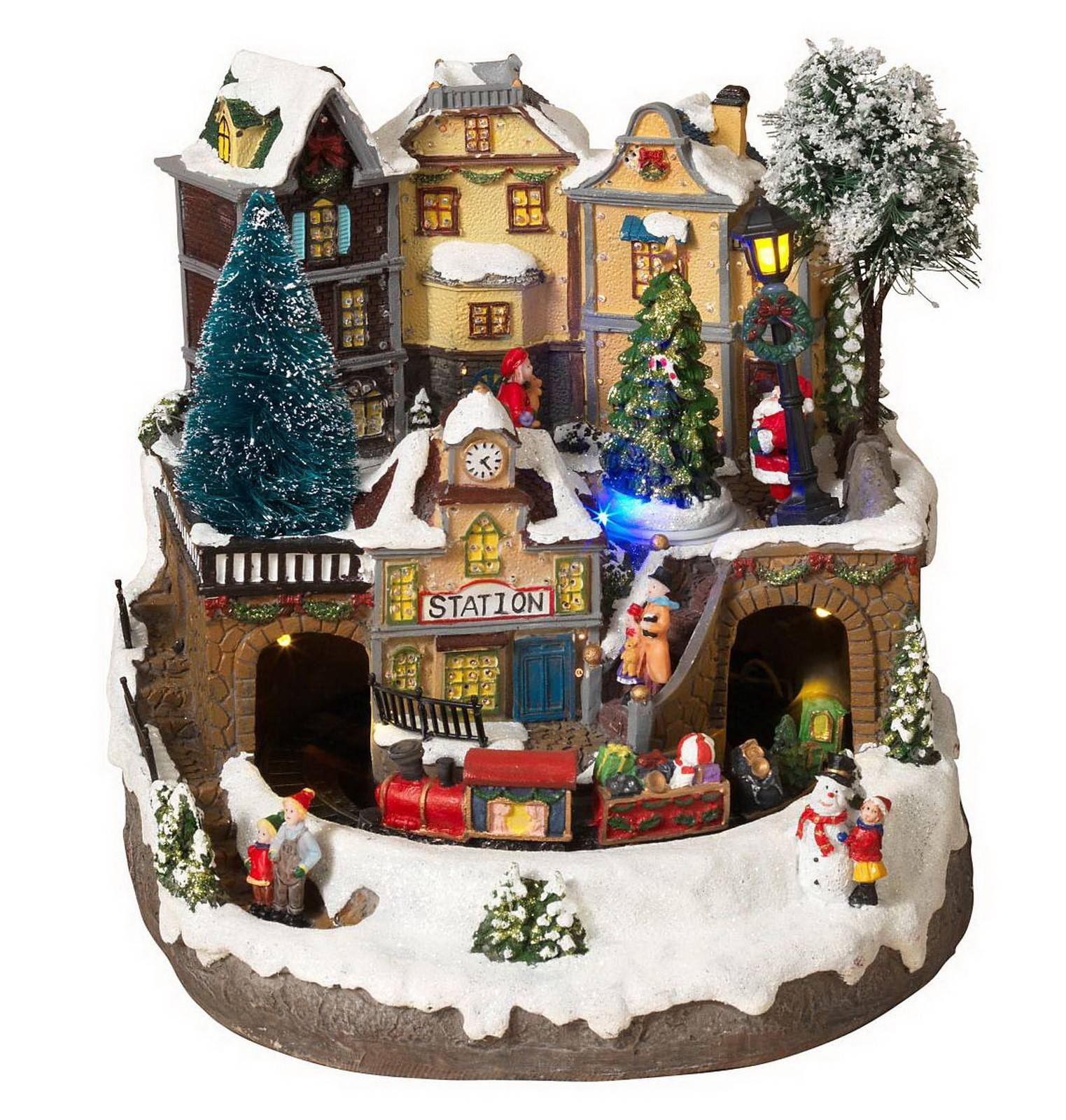 Musical Fiber Optic Christmas Village Decoration Lighted Display Houses Train Station