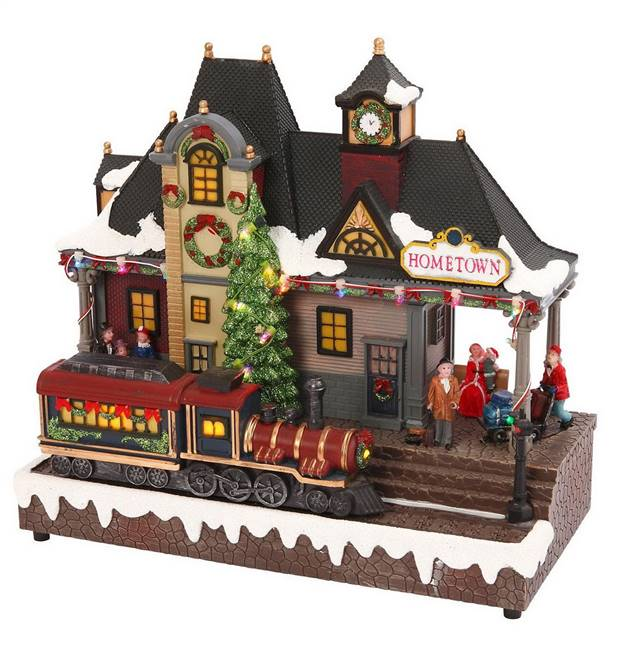 Lighted Musical Train Station Christmas Village Decoration
