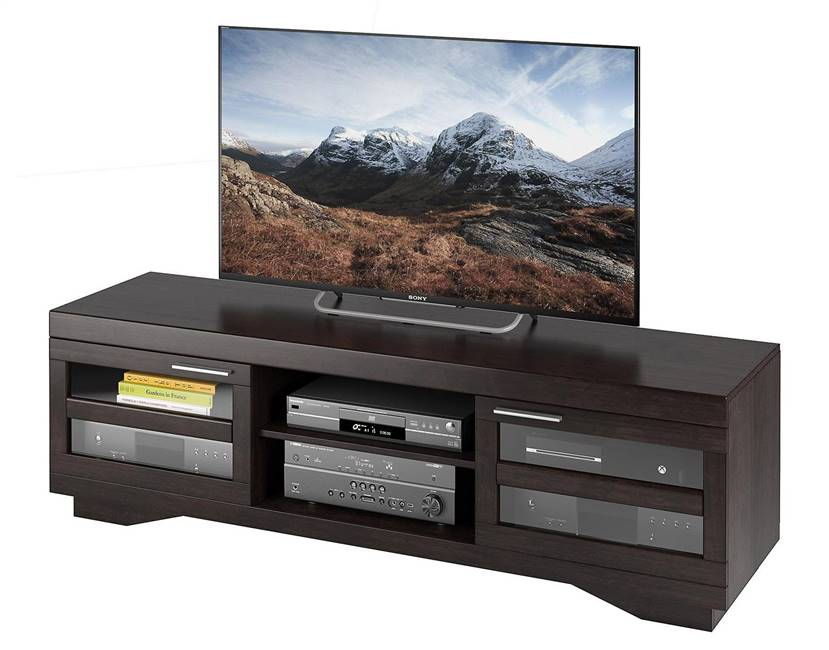 "Large TV Stand 66"" Mocha Black Wood Veneer"