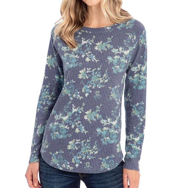 Peace and Pearls Waffle Knit Tunic Long Sleeve