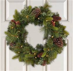 "24"" Pre Lit Christmas Wreath Artificial Mixed Greenery Wreath"