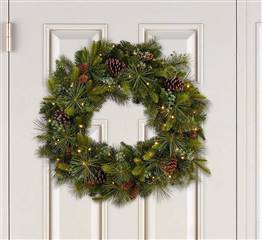 32 inch Pre Lit Christmas Wreath Artificial Mixed Greenery