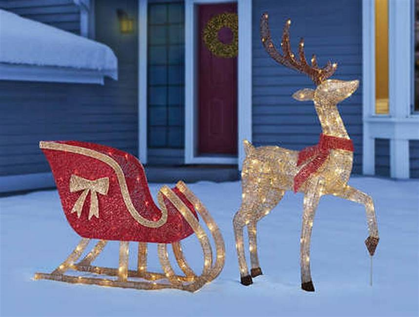 Outdoor Christmas Decoration LED Deer Sleigh Set