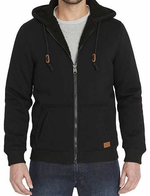 Mens Sherpa Lined Hooded Sweatshirt